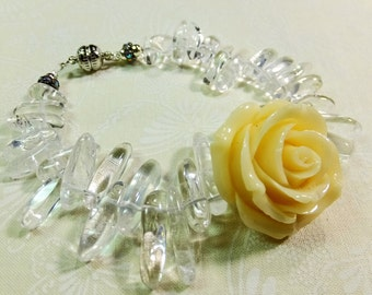 White Resin Rose with Quartz Beads 7.75 inch Bracelet with Magnetic Clasp Inspired by symbols in the TV Show Beauty and the Beast