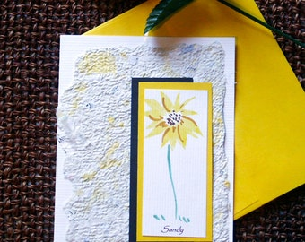 Personalized Note Cards with with Handpainted Kansas Sunflower and Recycled Handmade Paper
