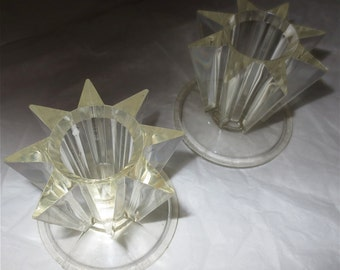 Starburst Candle Holder Pair - Made in France - Vintage 70s