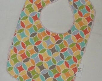 Multi-colored Tile Pile Fabric and Chenille Bib