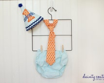 Boy First Birthday Outfit - aqua, blue, and orange - Cake Smash - Party hat - Free personalization
