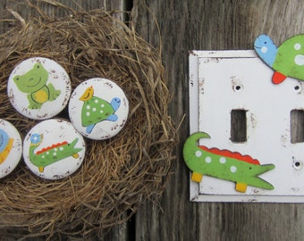 ALLIGATOR & TURTLE Kids Switch Plate Cover - Original Hand Painted Wood Cheerful Critters