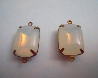 Vintage Cabochon Connector White Opal