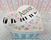 Amour Piano Keepsake Box, Hand Painted Paper Mache Heart Box, Hand Designed, Storage, Gift, Collectible, Musician Keepsake, ECS, CSSTeam