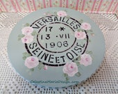 French Stamp Stenciled Wood Lazy Susan, Hand Painted Aqua with Pink Cottage Roses, Table Display, Helper, Centerpiece, Original, ECS