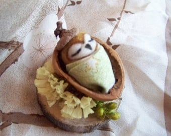 Needle Felted Baby Owl in Walnut crib-choose your color