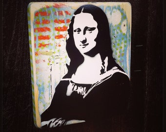 Mona Lisa Graffiti Painting on Canvas Pop Art Style Original Artwork Stencil Urban Street Art