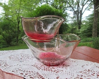 Vintage Mid Century Glass Chip N Dip - Cranberry Tinted - Christmas
