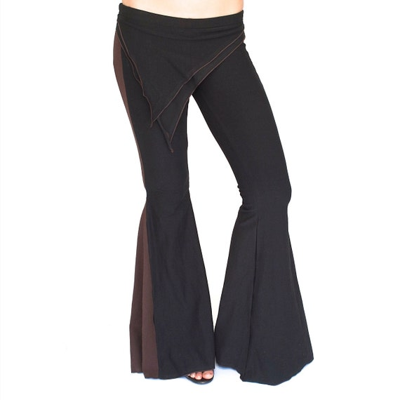 Funky Fairy Pants -  attached skirt, asymmetric - Black with color of Your Choice - Yoga - Dancewear