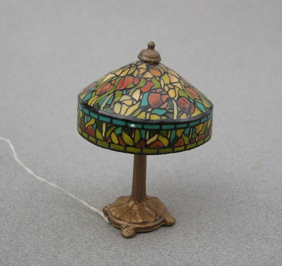 Dollhouse Lamp Miniatures: Kummerows Dollhouse Lamp Faux Stained Glass Lamp Tulips