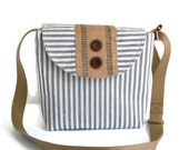 Seaside Crossbody Bag -  Adjustable Strap - Ticking Stripe - Natural Jute - Wood Buttons - Nautical