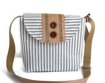 Seaside Crossbody Bag -  Adjustable Strap - Ticking Stripe - Natural Jute - Wood Buttons - Nautical