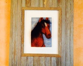 Chestnut the Horse Needle Felted Painting
