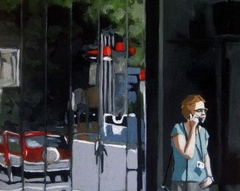 SALE! Woman City Windows reflections Original figurative oil painting