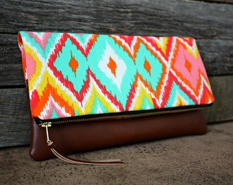 Ikat Chevron Upholstery Foldover Clutch / Kindle Case