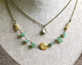 Multi chain green aventurine  pearl and rhinestone layering necklace. Tiedupmemories