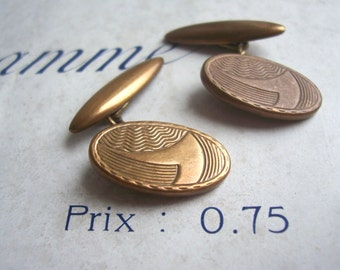 Oval Vintage 1960s cufflinks - retro brass - graphic etched detail from the UK - gift for groom - SALE