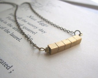 SALE Petite Cube necklace - solid golden brass square beads in a mini row - handmade