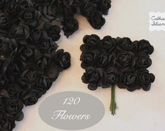 120 Black Paper Flowers - small bouquet - wedding, bridal, baby showers, invitation making, scrapbooking