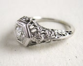 Vintage Art Deco Engagement Ring with VS1/G .50ct Semi-Modern Cut Diamond in 18k White Gold Filigree Setting