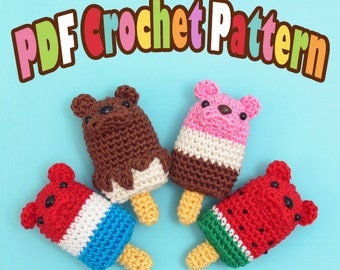 PDF Amigurumi / Crochet Pattern Ice Popsicle/Ice Cream Bar Bear CP-15-3272