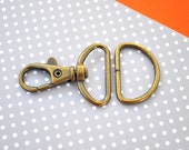 FREE SHIPPING--20 sets of 1 inch Loop End Anti Brass Swivel Clasps Lobster Claw Hooks and 20 of 1 inch Anti Brass D Rings