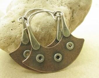 Sterling Silver And Copper Earrings, Argentium Hoop Earrings, Urban Tribal Earrings, Riveted Earrings, Blade Earrings, Metalsmith Earrings