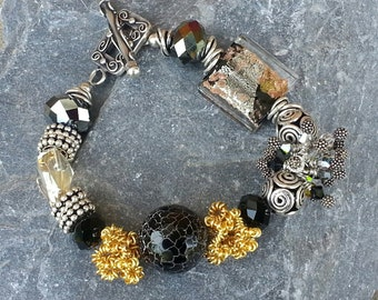 Handmade Gemstone Charm Bracelet with Swarovski Crystals.
