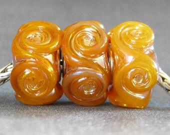 Handmade Lampwork Beads Glass Big Hole Euro Charm Beads Butterscotch Rosette Trio