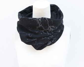 Black Gray Splatter Cowl Scarf Tube