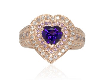 Amethyst Engagement Ring, Heart Signet Style Ring with Amethyst Inner Halo and Wide Pink and White Diamond Shank - LS4174