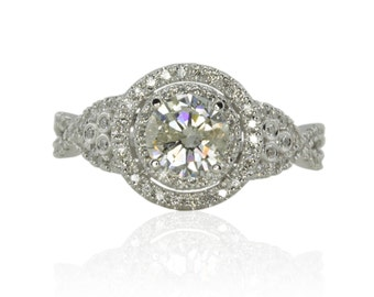 Engagement Ring, Round Diamond Engagement Ring with Twisted Shank and Double Halo - LS1729