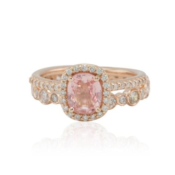 Pink Sapphire Engagement Ring Rose Gold Bezel Diamond
