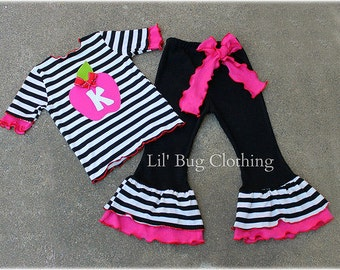 Back To School Girl Outfit, Back To School Personalized Apple Outfit, Back To School Girls Black White Stripe Outfit