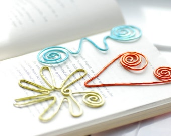 Fun Bookmarks, Set of 3 Wire Bookmarks, Funky Bookmarks, Colorful Bookmarks, Squiggle, Book Lover Gift, Teacher Gift, Librarian Gift