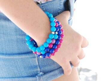 Jade Bracelets, Neon Bracelets, Candy Colored Jade, Bright Jewelry, Summer Bracelets, Set of 4, Stone Jewelry, Stretch Bracelet