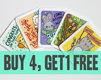Multiple Card Pack Deal - Buy 4 Get 1 Free - Notecards