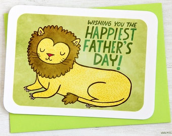 Regal Lion - Father's Day Card, Card for Dad, Dad Card, Lion Dad Card, Awesome Dad Card, Cute Fathers Day Card