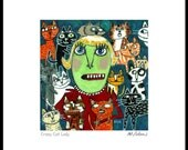 Crazy Cat Lady - Art print, cat art, archival signed print by Murphy Adams