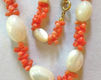 Vintage Necklace Coral Necklace & Mother of Pearl 50s TWO strands