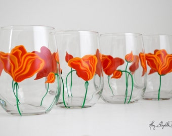 Hand Painted Wine Glasses - Orange Poppies Stemless Wine Glasses  - Mothers Day Gift - Set of 4 Stemless Glasses, California Poppies