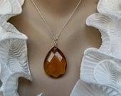 Elegant Citrine Quartz and Sterling Silver Necklace