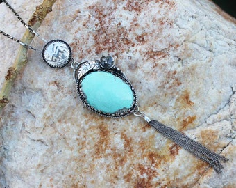 TASSEL Campitos Turquoise Cabochon Sterling Silver Pendant Necklace, rustic, artisan, metalwork, handmade, boho, gypsy