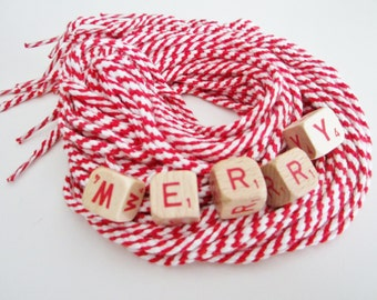 3 Pairs of Christmas Red and White Candy Cane Striped Cotton Shoelaces, Ties, Peppermint Twist
