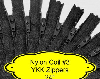 """10 ZIPPERS - 24"""" - YKK Nylon Zippers - 24 inch - Size 3 - BLACK - Closed End - Non-separating"""