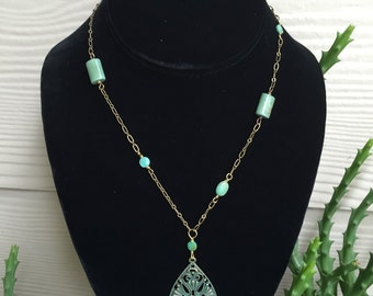 Turquoise Teardrop Brass Necklace Set