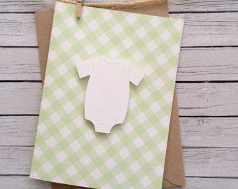 Gender Neutral Baby Shower Thank You Cards. Baby Thank Yous. Crisp Onesie Design