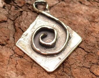 Artisan Sterling Silver Spiral Diamond Shape Charm