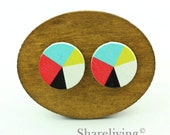 Buy 1 Get 1 Free - Colored Wood Cabochon, Wooden Button, 12mm 15mm 20mm Round Black White Red Yellow Turquoise Wood Cabochon - HWC034M