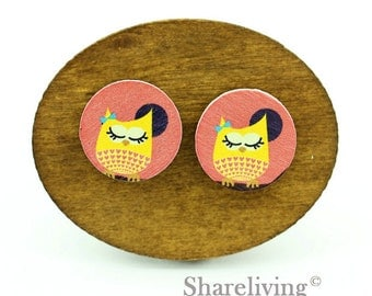Buy 1 Get 1 Free - Owl  Wood Cabochon, Wooden Button, 12mm 15mm 20mm  Round Handmade Photo Wood Cut Cabochon - HWC033R